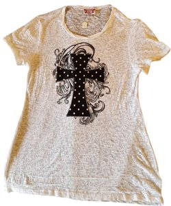 Attitude Apparel Cross Art T Shirt White with black artsy cross.