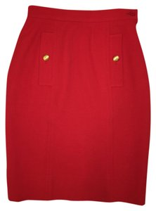 Saint Laurent Vintage Work Skirt Red