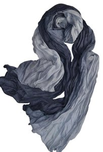 Other New Black & Gray Chiffon Scarf Long P2296