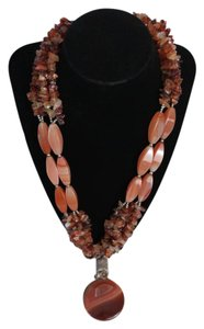 Statement Necklace Dark Orange Agate Stones