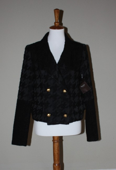 Smythe Cardigan Coat Houndstooth Cardigan Size 8 Blake Lively Black Jacket