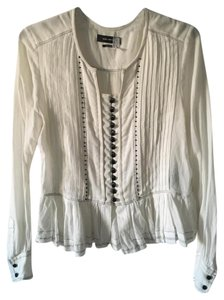 Isabel Marant Button Up Pleate Western Top White