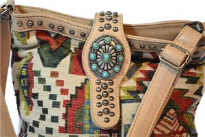 Montana West Aztec Carpet Southwest Studded Satchel in Multi-Aztec