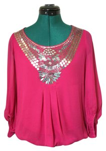 Marks & Spencer Evening Holiday Sequin Silk Top Pink