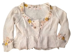 Other Beads Floral Wool Angora Rabbit Hair Mohair Cardigan