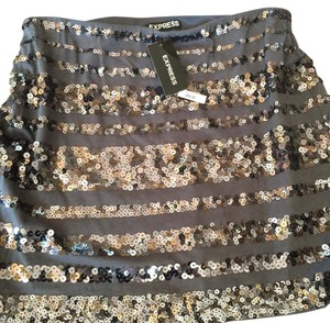 Express Skirt Metallic Gold And Khaki