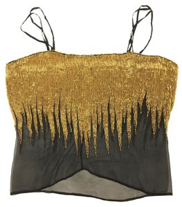 Other Festival Sequin Mesh Vintage Holiday Top Gold and Black