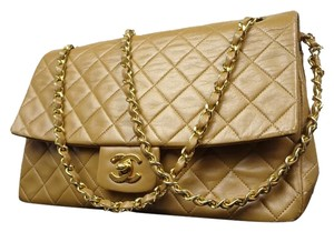 Chanel Tan Brown Jumbo Shoulder Bag
