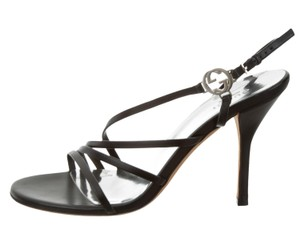 Gucci Strappy Gg Ankle Strap Silver Hardware Black, Silver Sandals