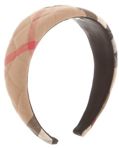 Burberry Beige, black, red Burberry House Check print wide headband