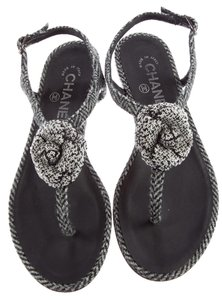 Chanel Camellia Interlocking Cc Logo Silver Hardware Tweed Black, White, Grey Sandals