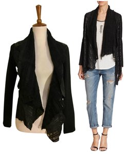 Haute Hippie Drapey Shawl Laser-cut Distressed Daphne Browell Leather Jacket