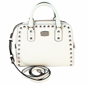 57e08758fc73 Michael Kors Satchel Studded Saff Purse Cross Body Bag. Michael Kors Small  Studded Saff Satchel Optic White Saffiano Leather ...