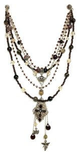 Kinley Sterling silver Multi Strand Cross Kinley Necklace Tourmaline