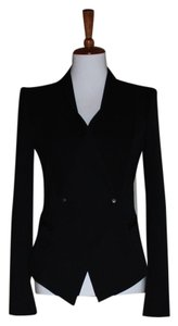 Helmut Lang Fitted Tailored Coat Double Breasted Wool Blend Size 2 Black Blazer