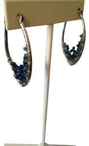 Kenneth Cole Silver-Tone Woven Blue Bead Earrings