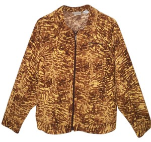 Chico's Stretch Animal Print Gold Jacket
