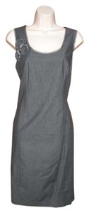Donna Morgan Chambray Exposed Zipper Sleeveless Embellished Dress