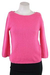 Calypso St. Barth Pink Cashmere Boat Neck 3/4 Sleeve Sweater