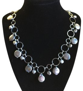 Gray Coin Pearl And Stainless Steel Necklace