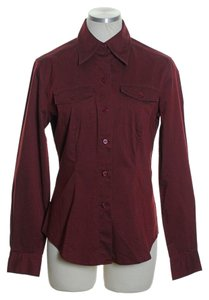 New York & Company Button Down Shirt Red