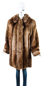 Other David Green Brown Beige Fur Convertible Rolled Long Sleeve Coat