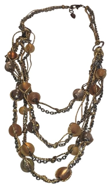 Item - Copper Gold Taupe Statement Multistrand Necklace