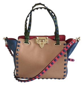 Valentino Rockstud Colorblock Mini Napa Tote in Multi