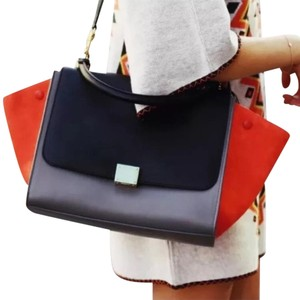 Céline Satchel in Orange Gray Black
