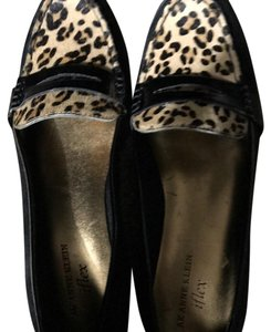 Ann Klein iFlex Black Leather Loafers with Real Horse Hair-NWOB Klien Black with Leopard Print Horse Hair Flats