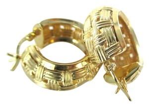 Other 14KT YELLOW GOLD EARRINGS WEAVE HOOP NO SCRAP FINE JEWELRY