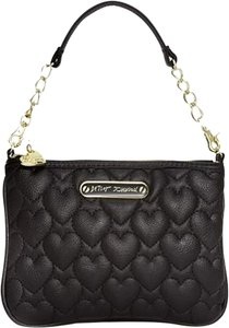 Betsey Johnson Hearts Quilted Clutch Wristlet in Black