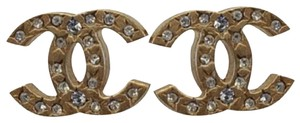 Chanel CHANEL Earrings - #7240 CC clear mini crystals goldtone pierced studs