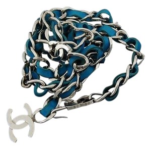 Chanel Blue Interlaced Chain Belt 211229