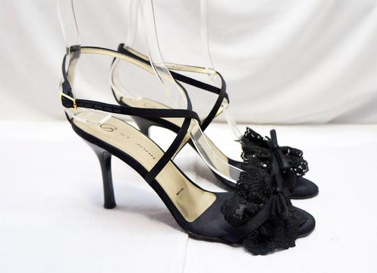 St. John Strappy Lace Open Toe Black Sandals
