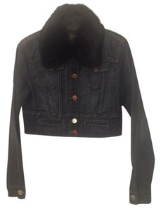bebe Bebe Signature Denim, Black Rabbit Fur Womens Jean Jacket