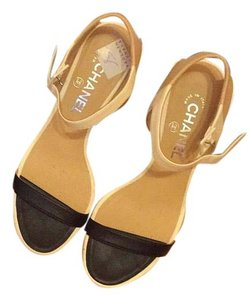 Chanel Cocochang Leather Beige, Black, White Sandals