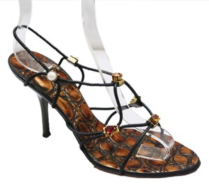 Giuseppe Zanotti Strappy Pearl Rhinestone Reptile Embossed Heeled Heels Black,Brown Sandals