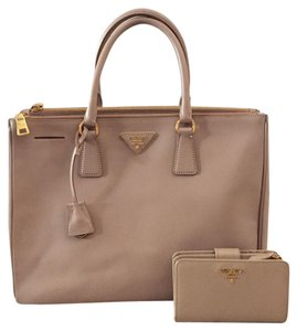 Prada Leather Classic Casual Chic Gold Hardware Tote in Cammeo