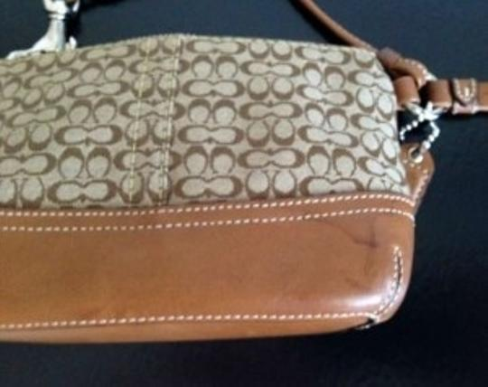 Coach Canvas Canvas Monogrammed Wristlet in Tan