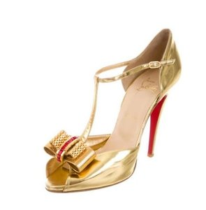 Christian Louboutin Loubs Red Bottoms Size 11 Size Gold Louboutin 11.5 41.5 Half T-strap Peeptoe Stiletto Pumps