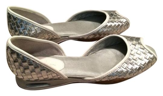 Cole Haan White Silver Flats