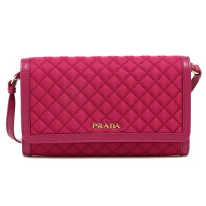 Prada Prada Quilted Nylon & Leather Crossbody Wallet Bag 1M1437, Pink