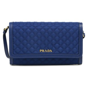 Prada Prada Quilted Nylon & Leather Crossbody Wallet Bag 1M1437, Royal Blue