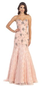 May Queen Lace Mermaid Fitted Sweetheart Strapless Dress