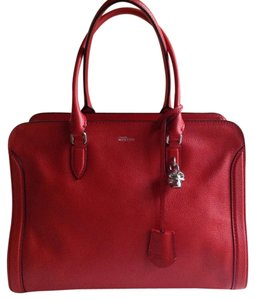 Alexander McQueen Leather Skull Satchel in Red