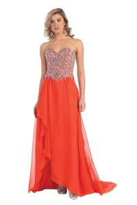 May Queen Prom Sweetheart Strapless Chiffon Long Dress