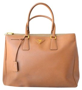 Prada Lux Leather Tote in Brown