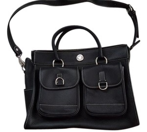 Dooney & Bourke Leather Silver Hardware Tote in Black