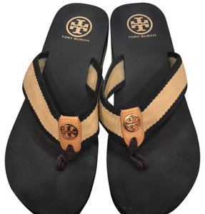 Tory Burch Navy and beige with gold accents Sandals